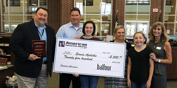 Freshman Awarded Balfour American Samaritan Award