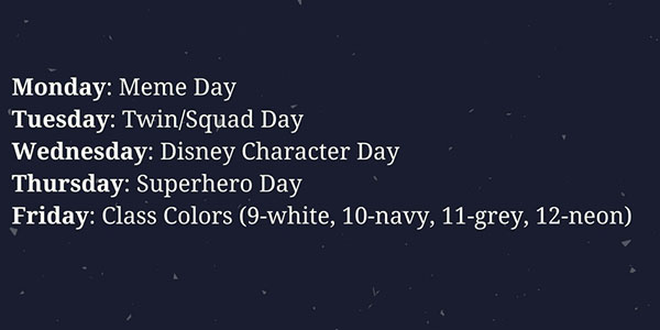 Student Council Reveals Homecoming Spirit Days