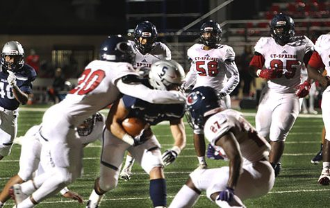 Varsity football pound the Panthers in last District home game