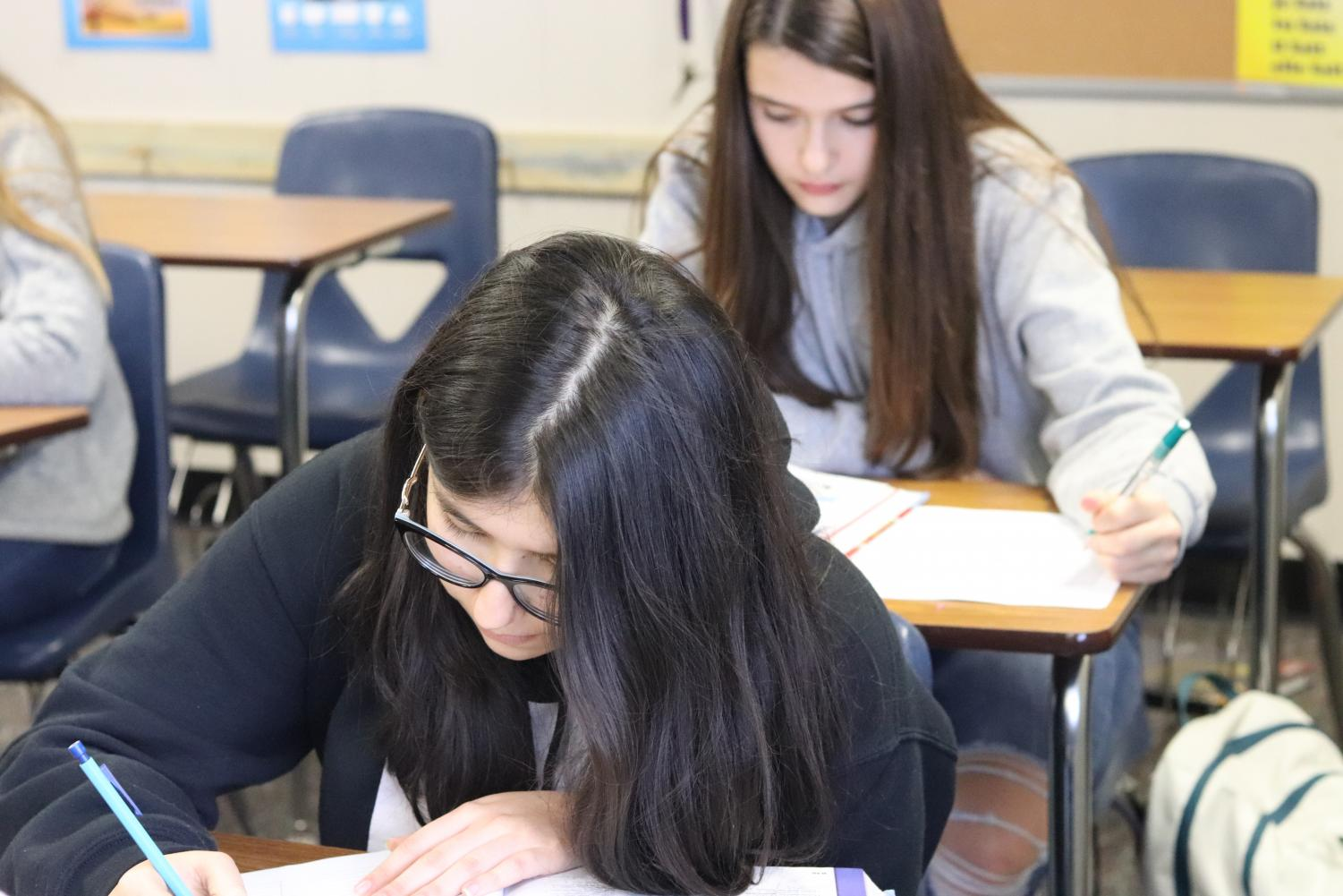 Sophomore Mariana Forero works on a vocabulary assignment in French I. All French classes have gone without a permanent instructor for most of the school year.