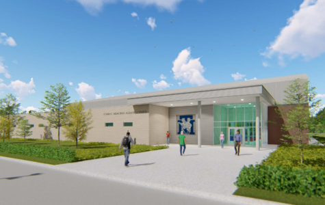 Architectural rendering of the planned Aquatic Center. Early preparation for the center's construction began on Tuesday.