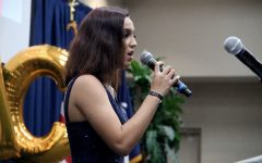 Sophomore Kynsey Lopez speaks at the ball.