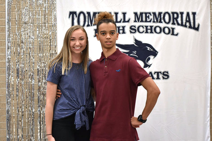 Students Courtney Smith and Justice Davis celebrate after being matched in their one-on-one friendship. The Best Buddies Match Party sparked the budding connection between the two.