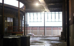 Renovations to make the cafeteria bigger to accommodate a larger school population.