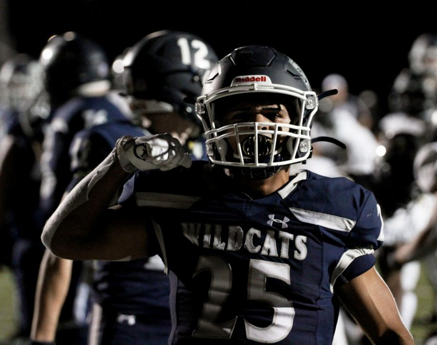 Rodriguez celebrates after a touchdown in the first round of the State Playoffs vs Cypress Park