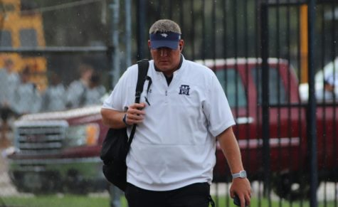 Head Coach Sam Parker arrives at Klein Memorial Stadium before the Wildcats play Klein Cain